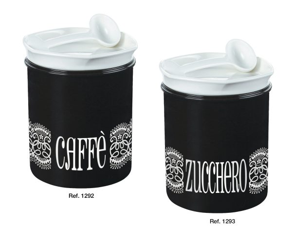 Coffee and sugar canisters with spoon
