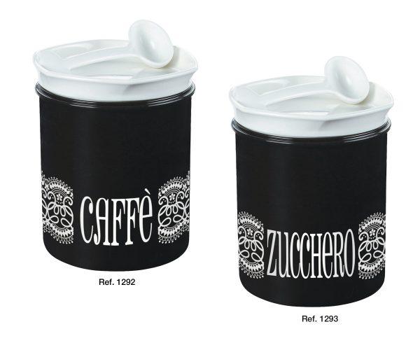 Barattoli caffè e zucchero con cucchiaio