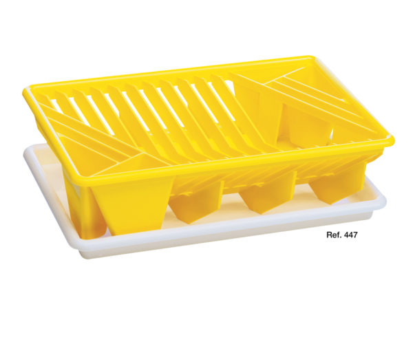 Small plates rack drainer with drop-catcher tray
